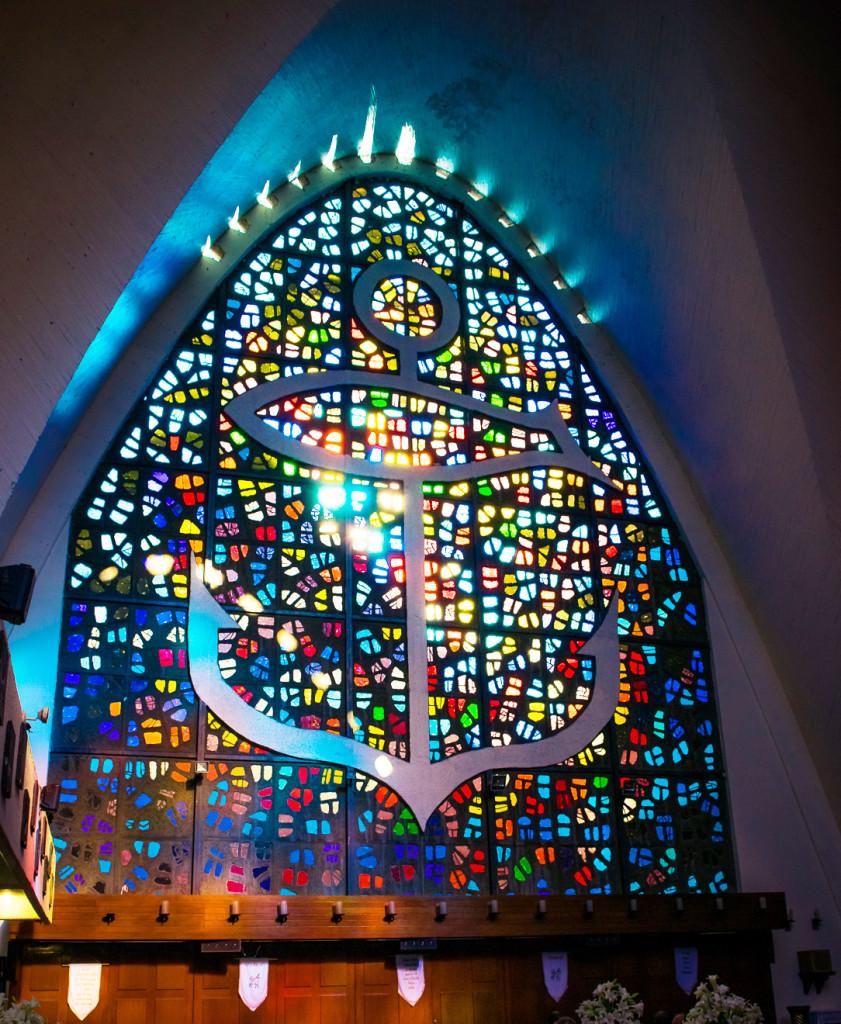 Foto de vitral de la Parroquia del Perpetuo Socorro y San José