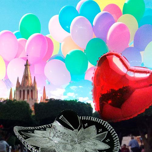 Entrega de anillo de compromiso en un plaza con globos